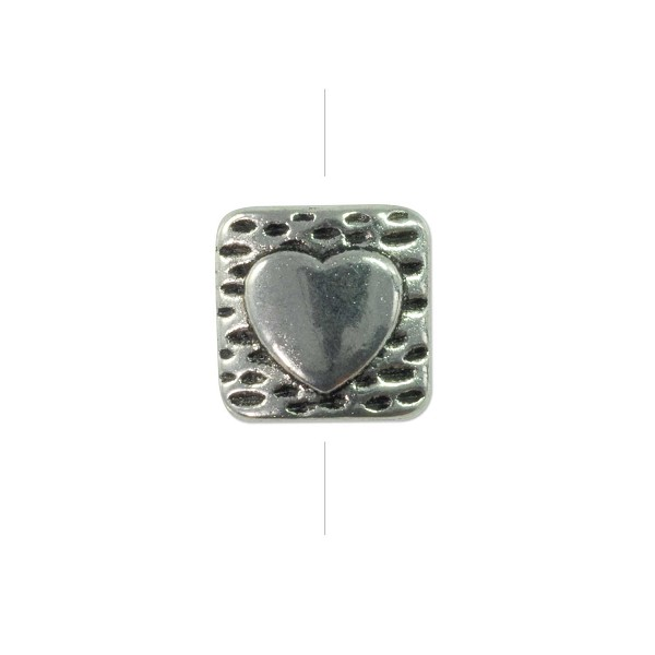 10mm Pewter Square Pillow with Heart Bead (1-Pc)