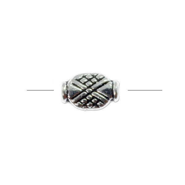 Crosshatched Oval Bead 12x7mm Pewter Antique Silver Plated (1-Pc)