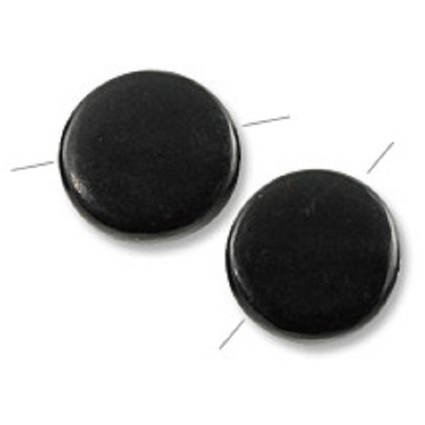 Cara Horn Beads Round Disc 15mm Black  (2-Pcs)