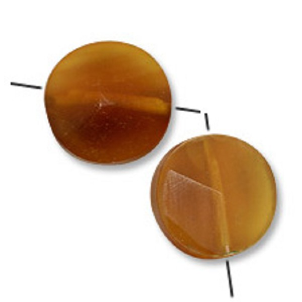 Cara Horn Beads Round Disc 15mm Gold (2-Pcs)