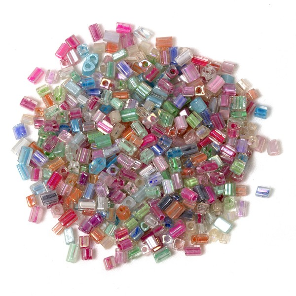 12 Packages of Glass Rectangle Pastel Assortment 3-5mm (360 Grams Total)