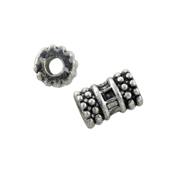 Stacked Heishi Bali-Style Tube Bead 9x5.5mm Nickel Silver (4-Pcs)
