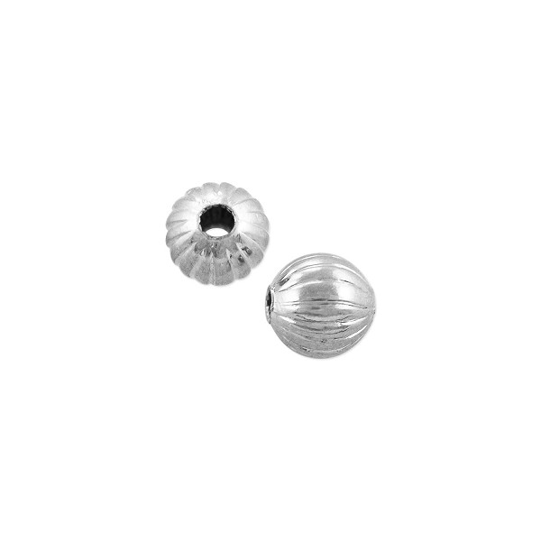 Corrugated Round Bead 4.5mm Silver Plated (10-Pcs)