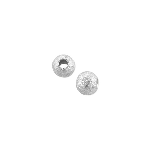 Frosted Round Bead 4mm Silver Plated (10-Pcs)