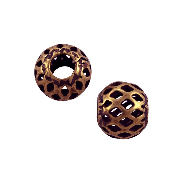 Filigree Round Bead 8mm Antique Copper Plated (10-Pcs)