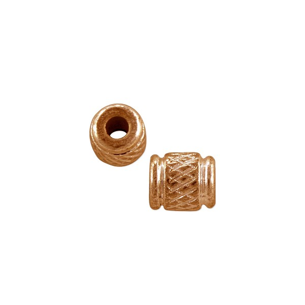Cross Hatch Tube Bead 5.5x4.5mm Copper (3-Pcs)