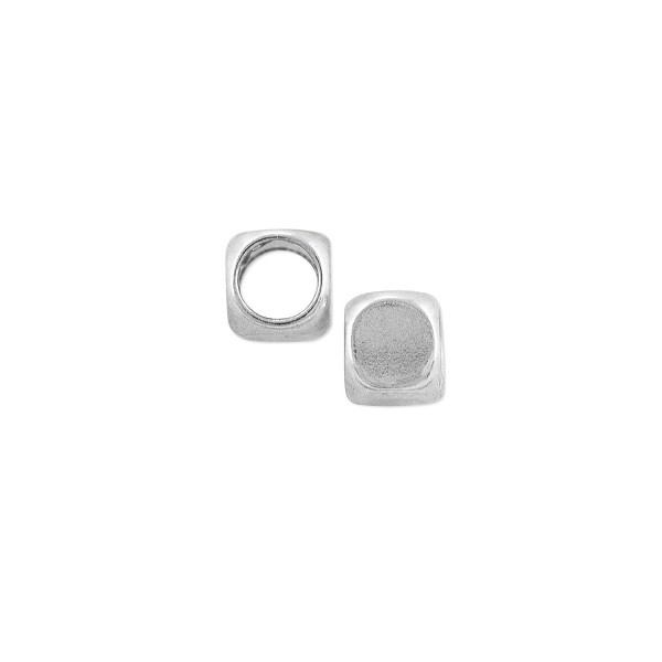 Rounded Cube 4.5mm Silver Plated (4-Pcs)