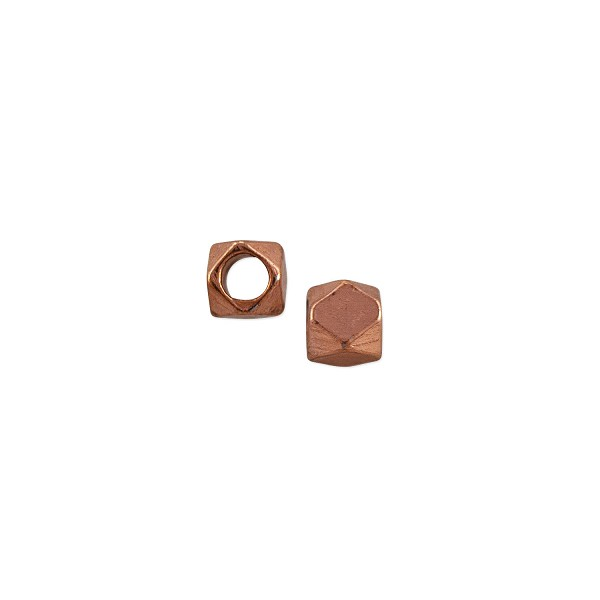 Cornerless Cube Bead 3mm Bright Copper (10-Pcs)