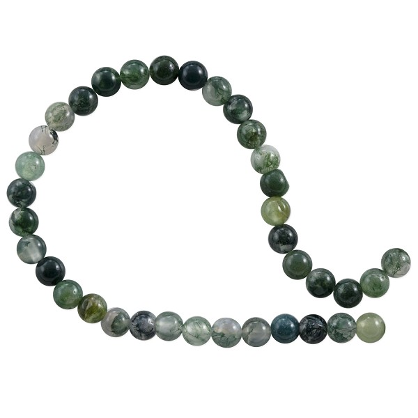 "Moss Agate Round Beads 4mm (15"" Strand)"