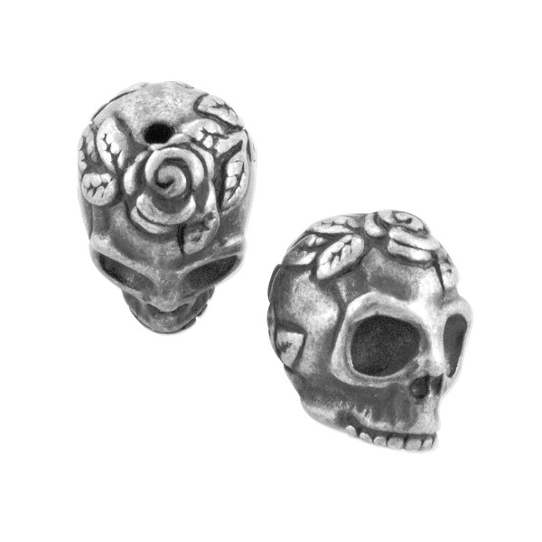 TierraCast Rose Skull Bead 10.25x10.25mm Pewter Antique Silver (1-Pc)