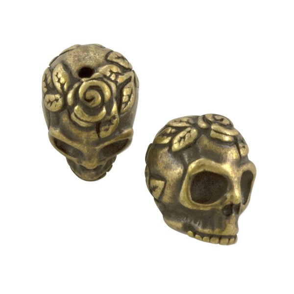 TierraCast Rose Skull Bead 10.25x10.25mm Pewter Antique Brass Plated (1-Pc)