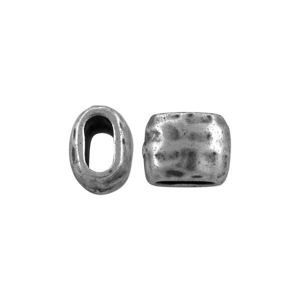 TierraCast Distressed Barrel Bead 7x6mm Antiqued Pewter (1-Pc)
