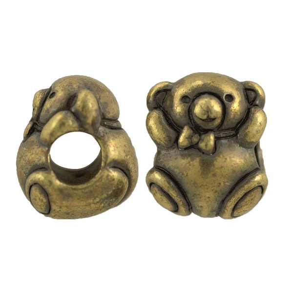 TierraCast Bead Bear Large Hole 11x9mm Pewter Antique Brass Plated (1-Pc)