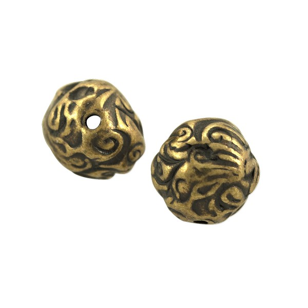 TierraCast Jardin Bead 9x8mm Pewter Oxidized Brass Plated (1-Pc)