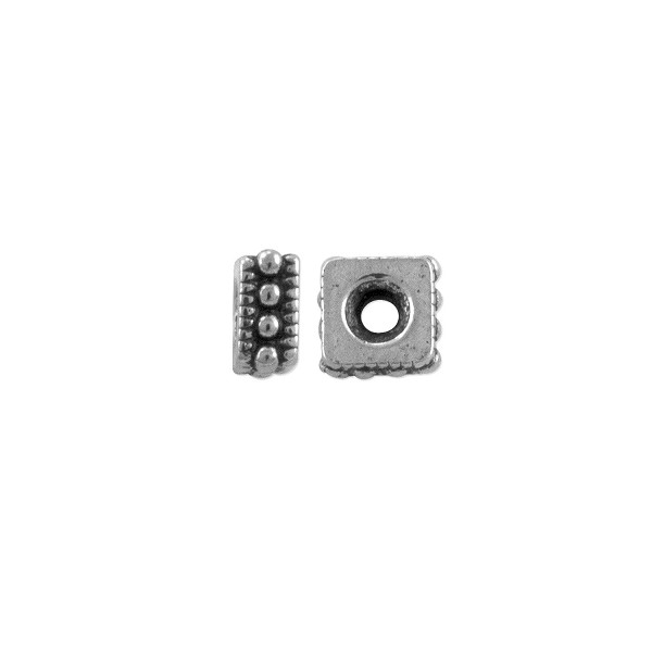 TierraCast Bead Rococo Square Heishi 4mm Pewter Silver Plated (2-Pcs)