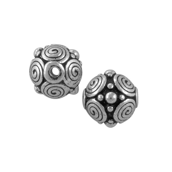 TierraCast Spirals Bead 9x8mm Pewter Antique Silver Plated (1-Pc)