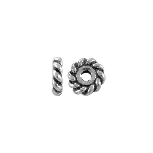 TierraCast Bead Rope Twist Heishi 6mm Pewter Antique Silver Plated (2-Pcs)