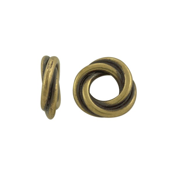 TierraCast Bead Twisted Spacer 8.75mm Pewter Antique Brass Plated (1-Pc)