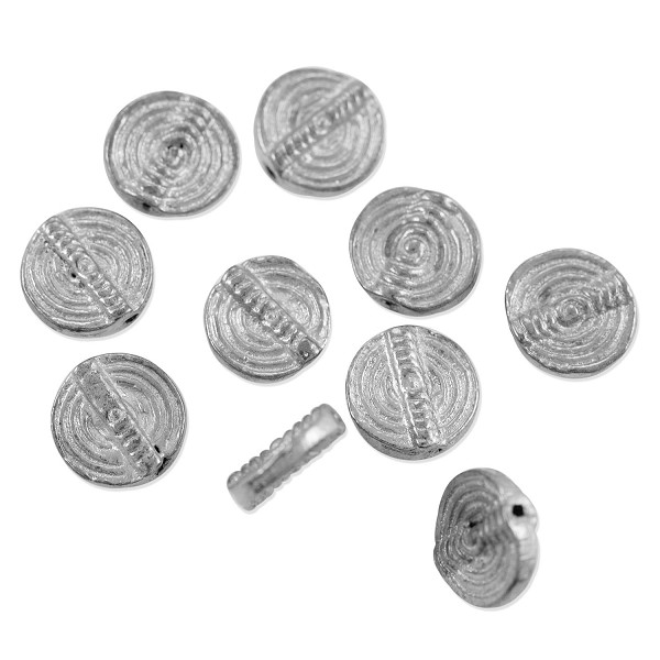 Baule Style Bead 11mm Bright Nickel Silver (10-Pcs)