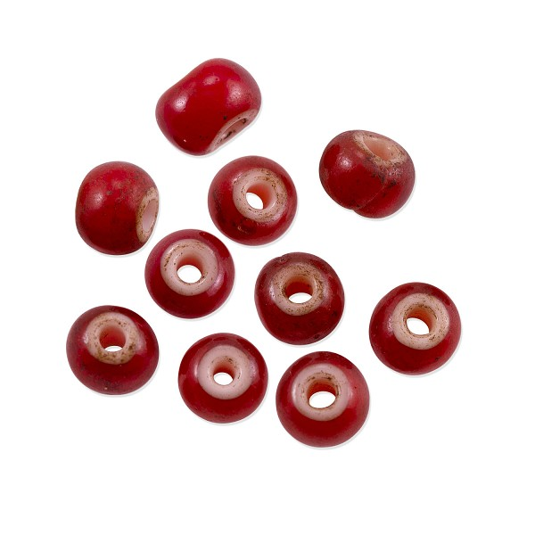 French White Heart Beads 6mm Red (10-Pcs)