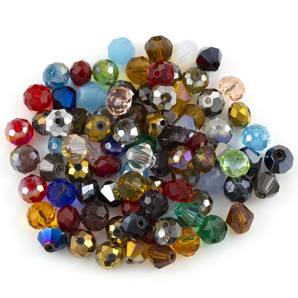 Crystal Bead Assortment 8mm Assorted Shapes (Approx. 65 Pcs)