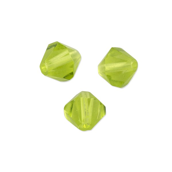 "Faceted Bicone 6mm Peridot Crystal Beads (11"" Strand)"
