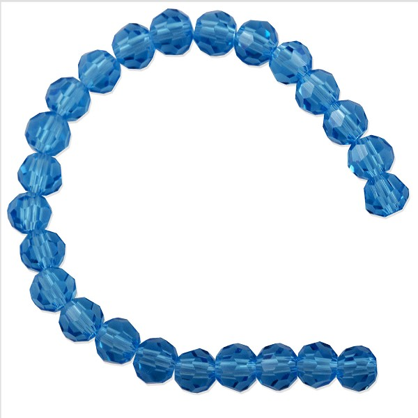 "Faceted Round 6mm Aquamarine Crystal Beads (14"" Strand)"