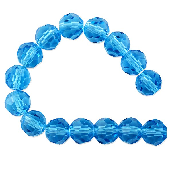 "Faceted Round 8mm Aquamarine Crystal Beads (20"" Strand)"