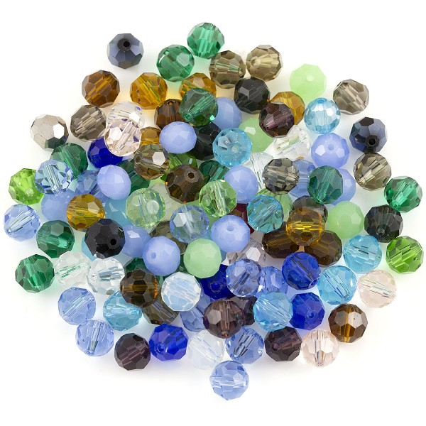 Crystal Round Bead Assortment 8mm (Approx. 105 Pcs)