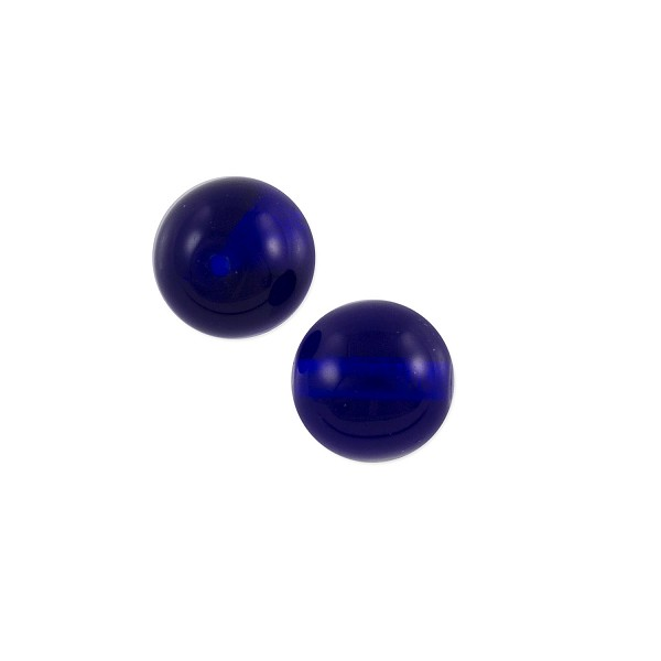 Czech Pressed Glass Round Beads 8mm Cobalt (10-Pcs)
