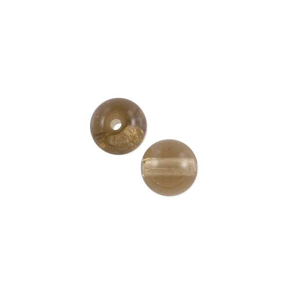 Czech Pressed Glass Round Beads 6mm Smokey Topaz (10-Pcs)