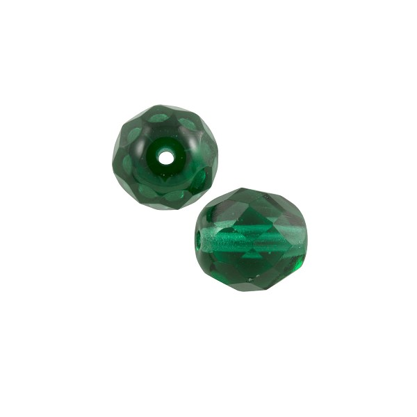 Czech Fire Polished Rounds 8mm Emerald (10-Pcs)