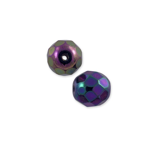 Czech Fire Polished Rounds 6mm Purple Iris (10-Pcs)