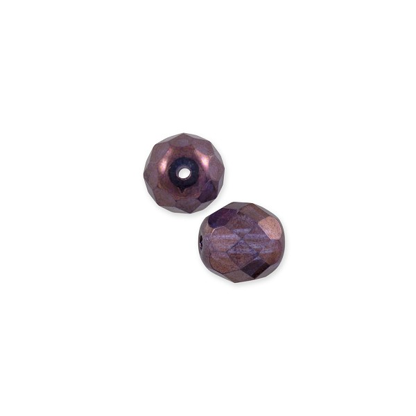 Czech Fire Polished Rounds 4mm Purple Luster (10-Pcs)