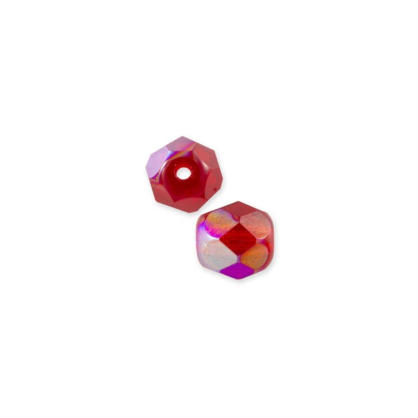 Czech Fire Polished Rounds 4mm Ruby AB (10-Pcs)