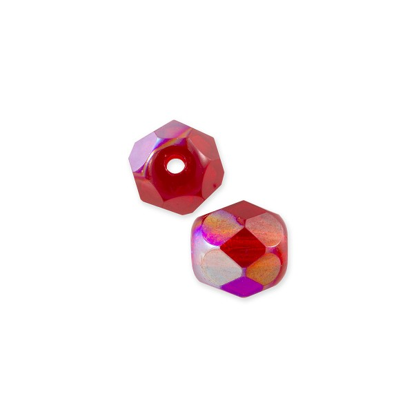 Czech Fire Polished Rounds 6mm Ruby AB (10-Pcs)