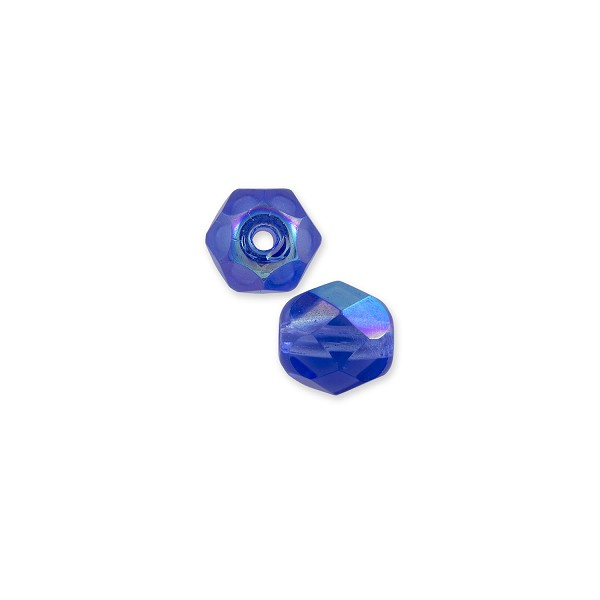 Czech Fire Polished Rounds 4mm Sapphire AB (10-Pcs)