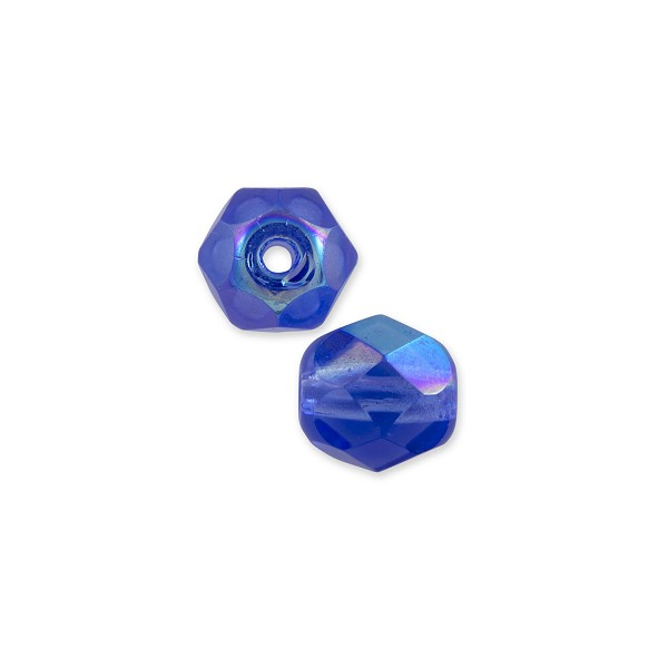 Czech Fire Polished Rounds 6mm Sapphire AB (10-Pcs)