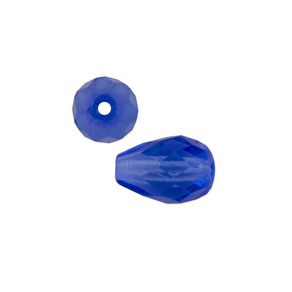 Czech Fire Polished Teardrop 10x7mm Sapphire (2-Pcs)