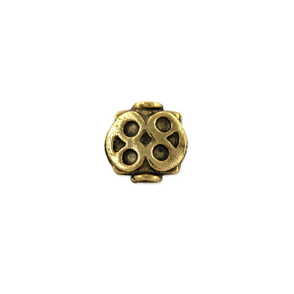 Designer Bead 8x8mm Pewter Antique Gold Plated (1-Pc)