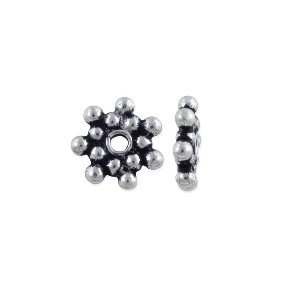 Bali Style Double Heishi Bead 7x1.5mm Sterling Silver (1-Pc)
