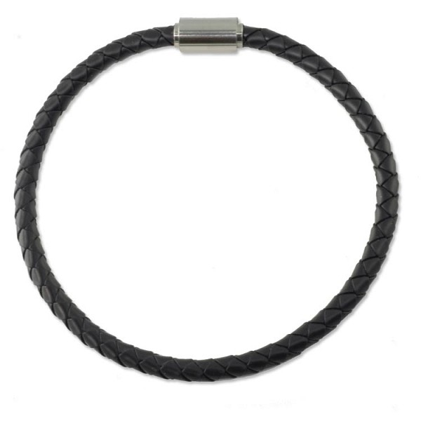 Braided Rubber Bracelet 4mm Black with Stainless Steel Magnetic Twist Clasp 8""