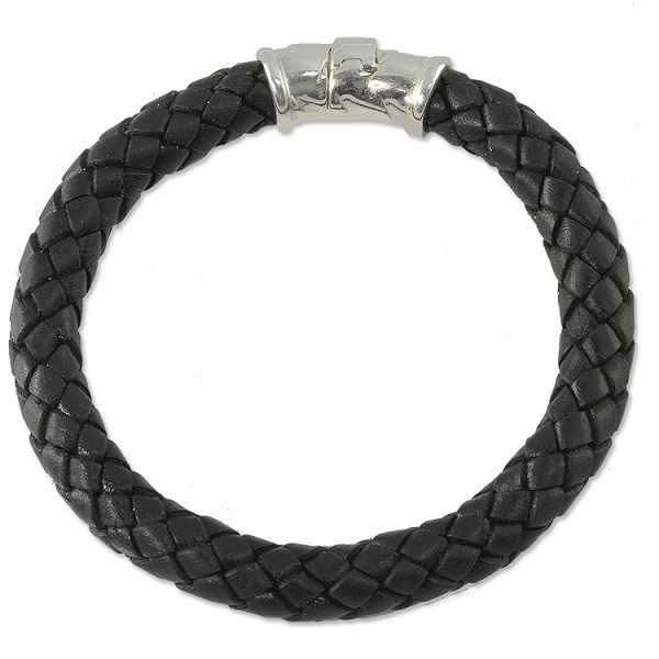 Braided Rubber Bracelet 8mm Black with Sterling Silver Safety Catch 8""