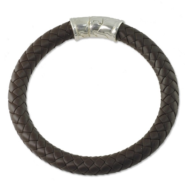 Braided Rubber Bracelet 8mm Brown with Sterling Silver Safety Catch 8""
