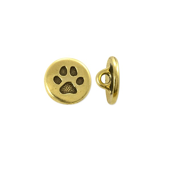 TierraCast Small Paw Button 12x5mm Antique Gold Plated (1-Pc)