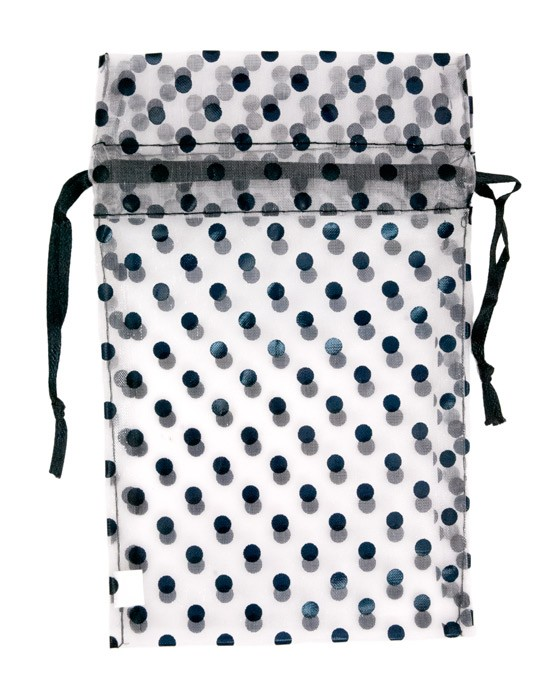 "4x5"" Black & White Polka Dot Pouches (12-Pcs)"