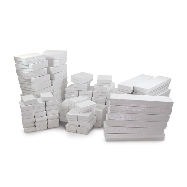 Jewelry Boxes Assortment White Swirl (100-Pcs)