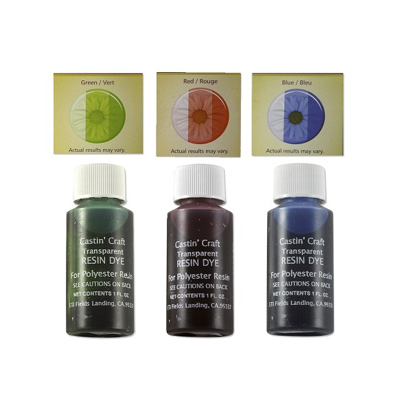 Castin' Craft Red Green Blue Transparent Resin Dye Assortment (Set of 3)