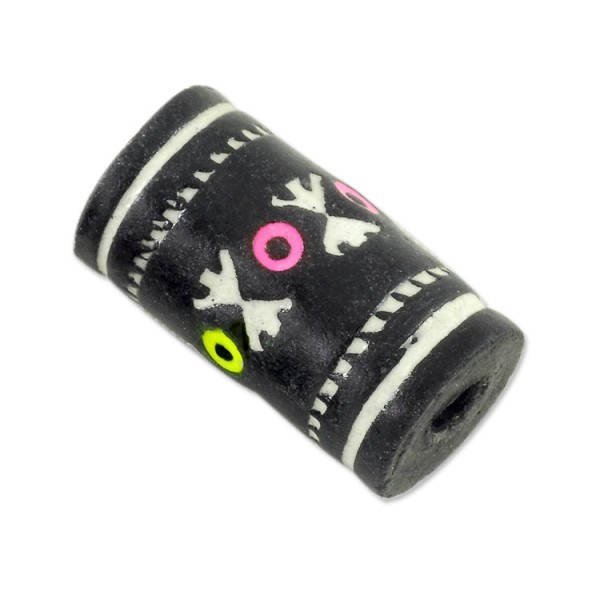 Terra Cotta Bead 9x16mm Tube Black/White (3-Pcs)
