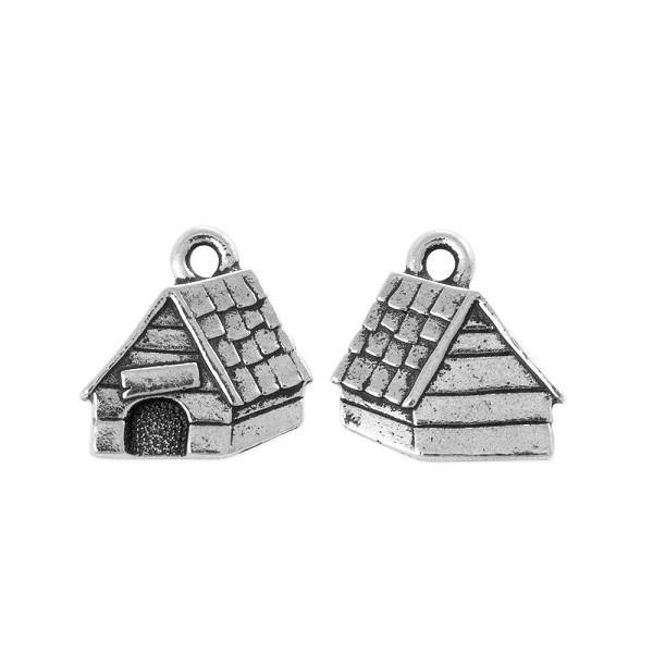 TierraCast Dog House Charm 15mm Antique Silver Plated (1-Pc)